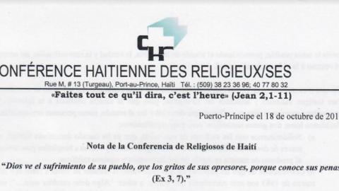 Carta da Conferência Haitiana de Religiosos/as