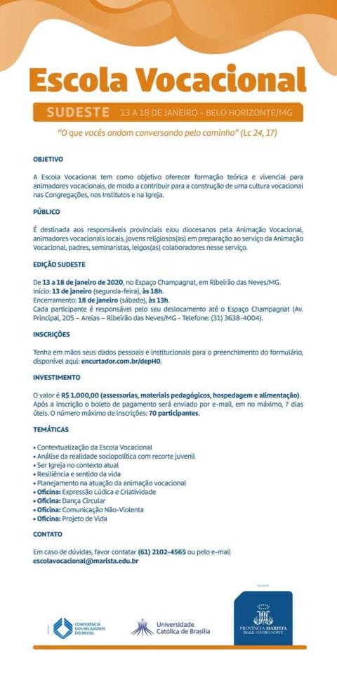 Escola Vocacional Marista 2020 | Inscrições abertas